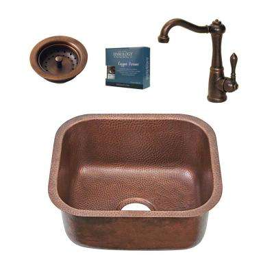Chef Series Sisley All-in-One Undermount 18.5 in. Single Bowl Copper Bar/Prep Kitchen Sink with Pfister Faucet and Drain