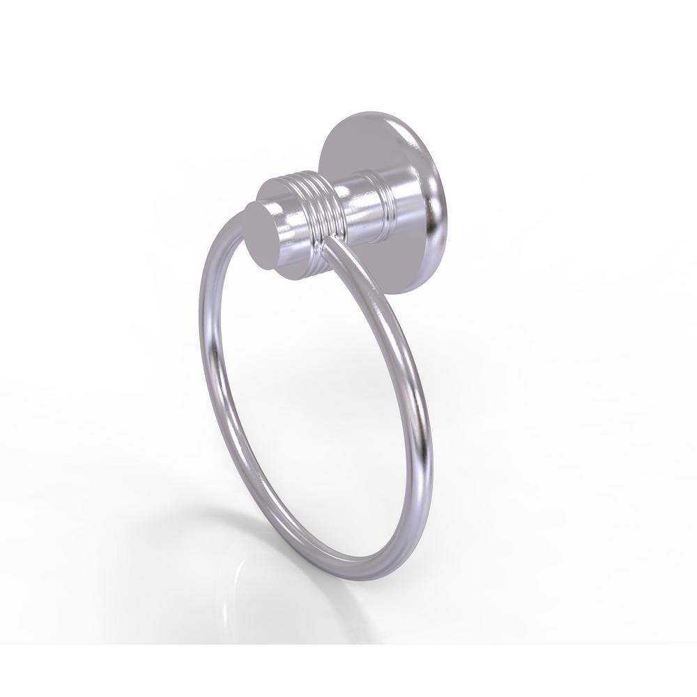 Allied Brass Mercury Collection Towel Ring with Groovy Accent in Satin Chrome