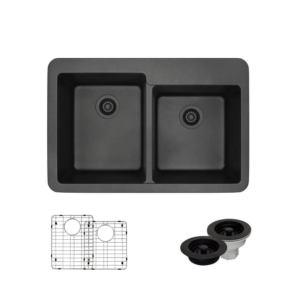 Topmount Composite Granite 33 in. Offset Double Bowl Kitchen Sink in Carbon