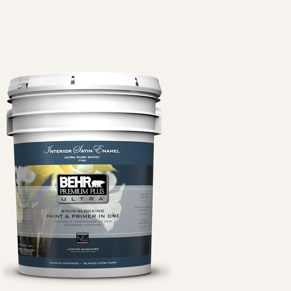 BEHR Premium Plus Ultra 5 gal. #75 Polar Bear Satin Enamel Interior Paint