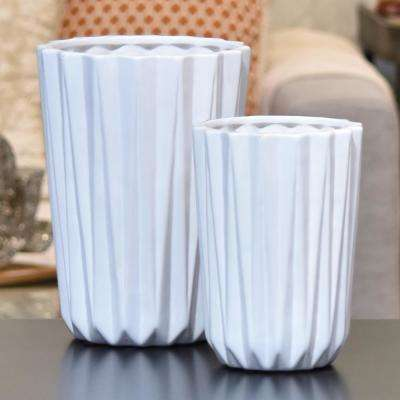 White Gloss Finish Porcelain Decorative Vase (Set of 2)