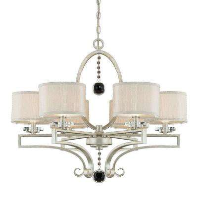 6-Light Silver Sparkle Chandelier with Silver Fabric Shade