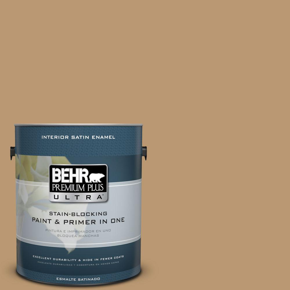 BEHR Premium Plus Ultra 1-gal. #ECC-24-1 Amber Leaf Satin Enamel Interior Paint