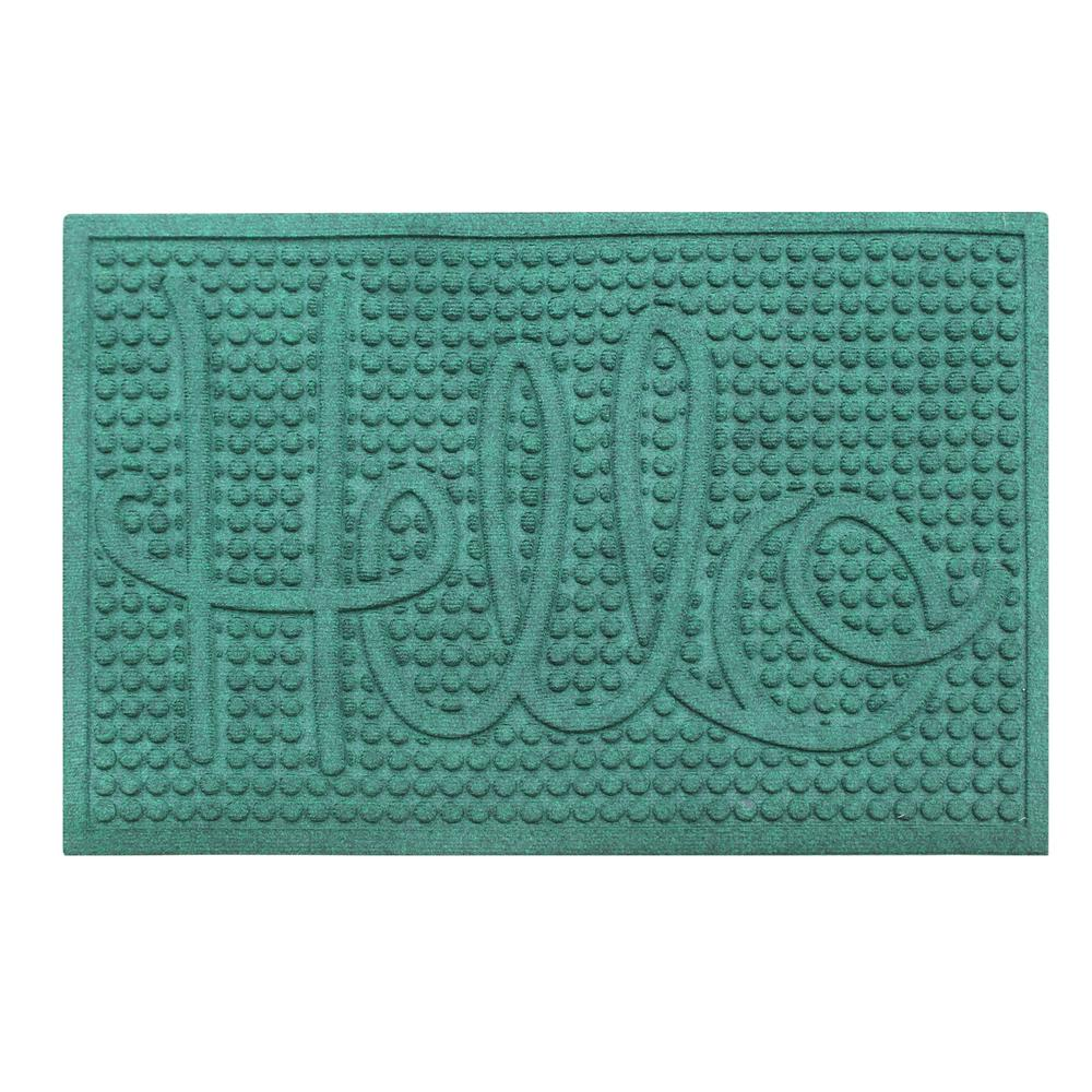 A1HC First Impression Hello Green 24 in. x 36 in. Eco-Poly Entrance Mat with Anti Slip Tire Crumb Backing