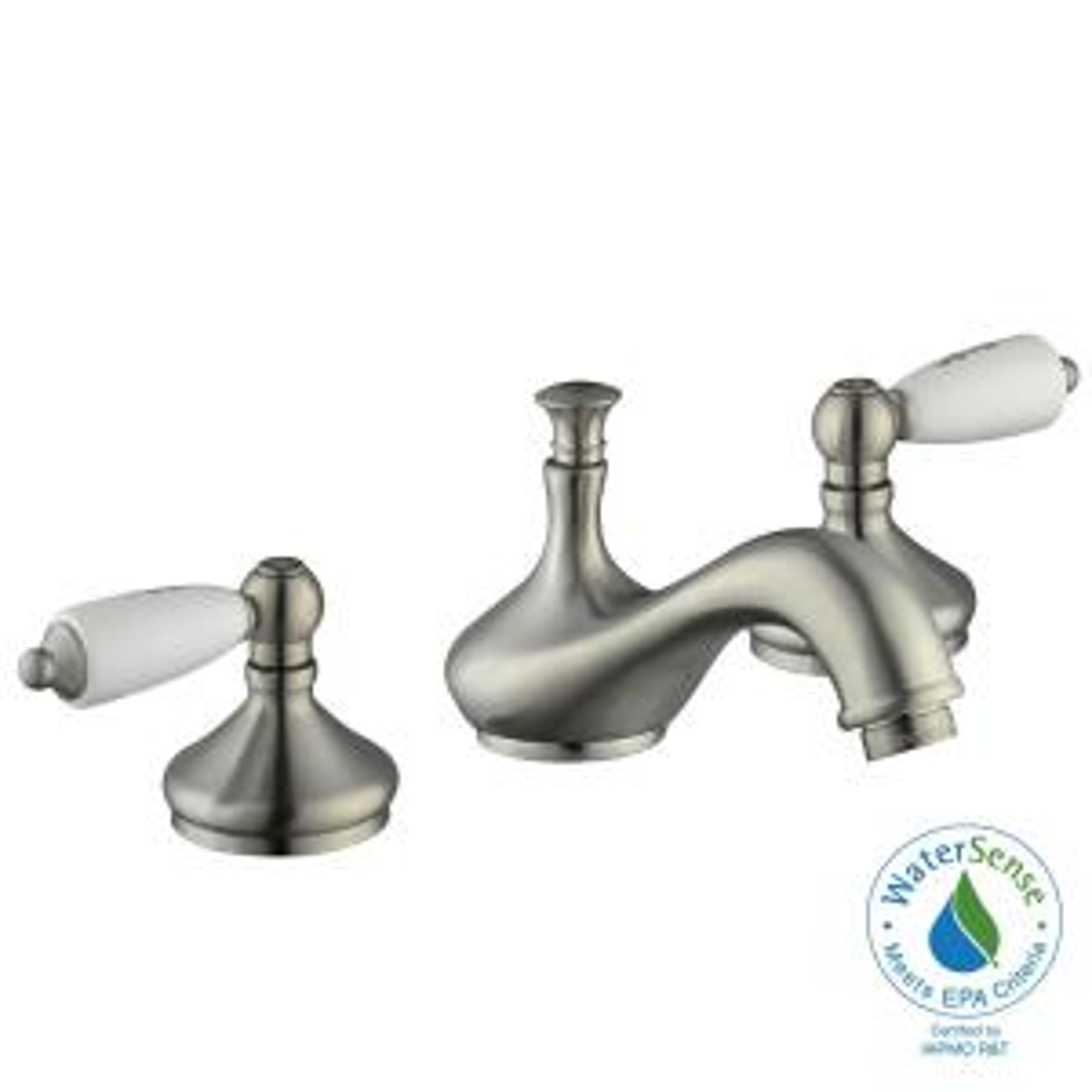 Glacier Bay Teapot 8 inch Widespread 2-Handle Low-Arc Bathroom Faucet in Brushed Nickel by Glacier Bay