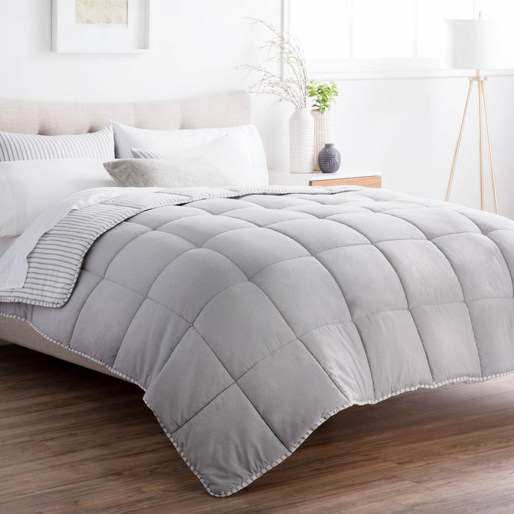 Striped Reversible Coastal Gray Full Chambray Comforter Set