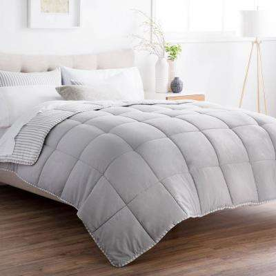 Striped Reversible Coastal Gray Oversized King Chambray Comforter Set