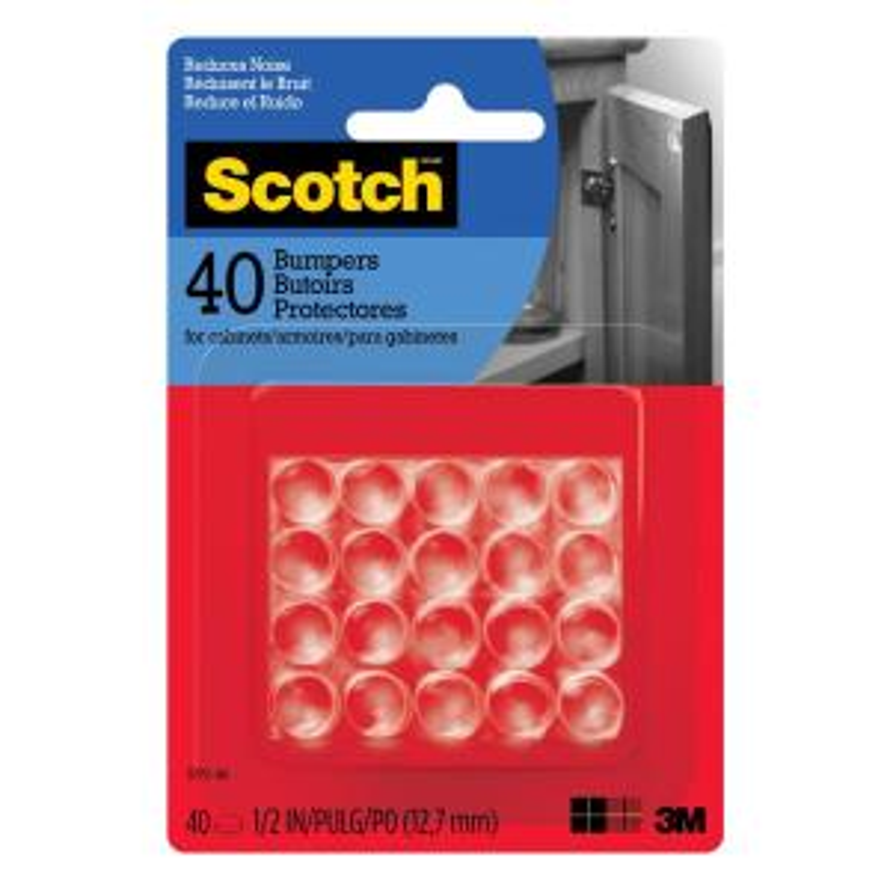 Scotch 1/2 in. Clear Round Self-Stick Rubber Bumpers (40-Pack ...
