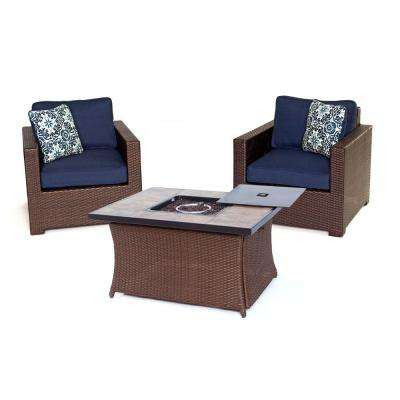 Metropolitan Brown 3-Piece All-Weather Wicker Patio LP Gas Fire Pit Chat Set with Navy Blue Cushions