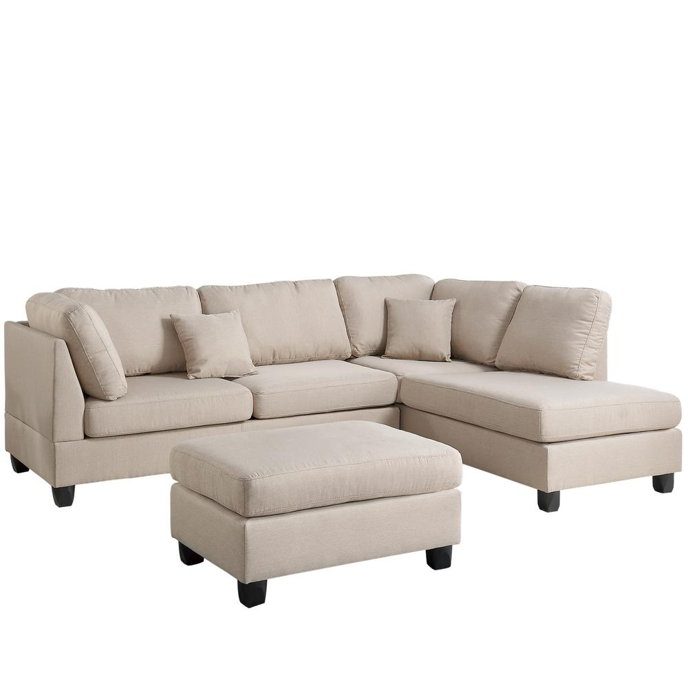 Madrid 3-Piece Reversible Sectional Sofa in Sand (Brown) ...