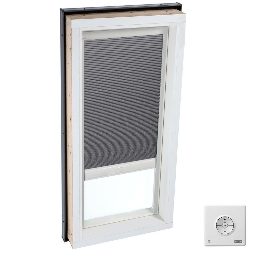 Velux solar powered room darkening grey skylight blinds for Velux solar skylight tax credit