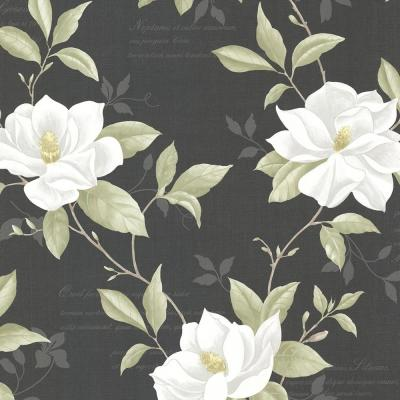 56.4 sq. ft. Cressida Black Magnolia Trail Wallpaper
