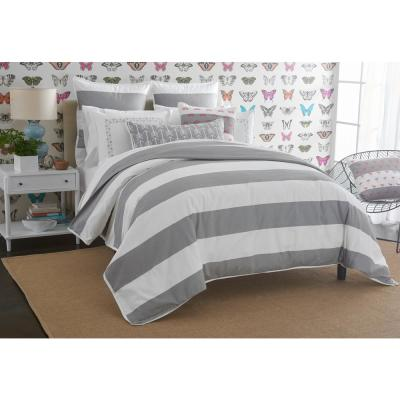 Cabana White and Grey Solid Twin Cotton Duvet Cover