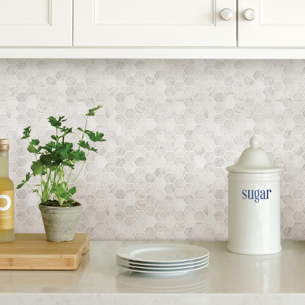 Wall Pops White Hexagon Marble Peel Stick Backsplash Tiles