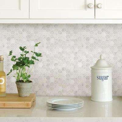 White Hexagon Marble Peel Stick Backsplash Tiles