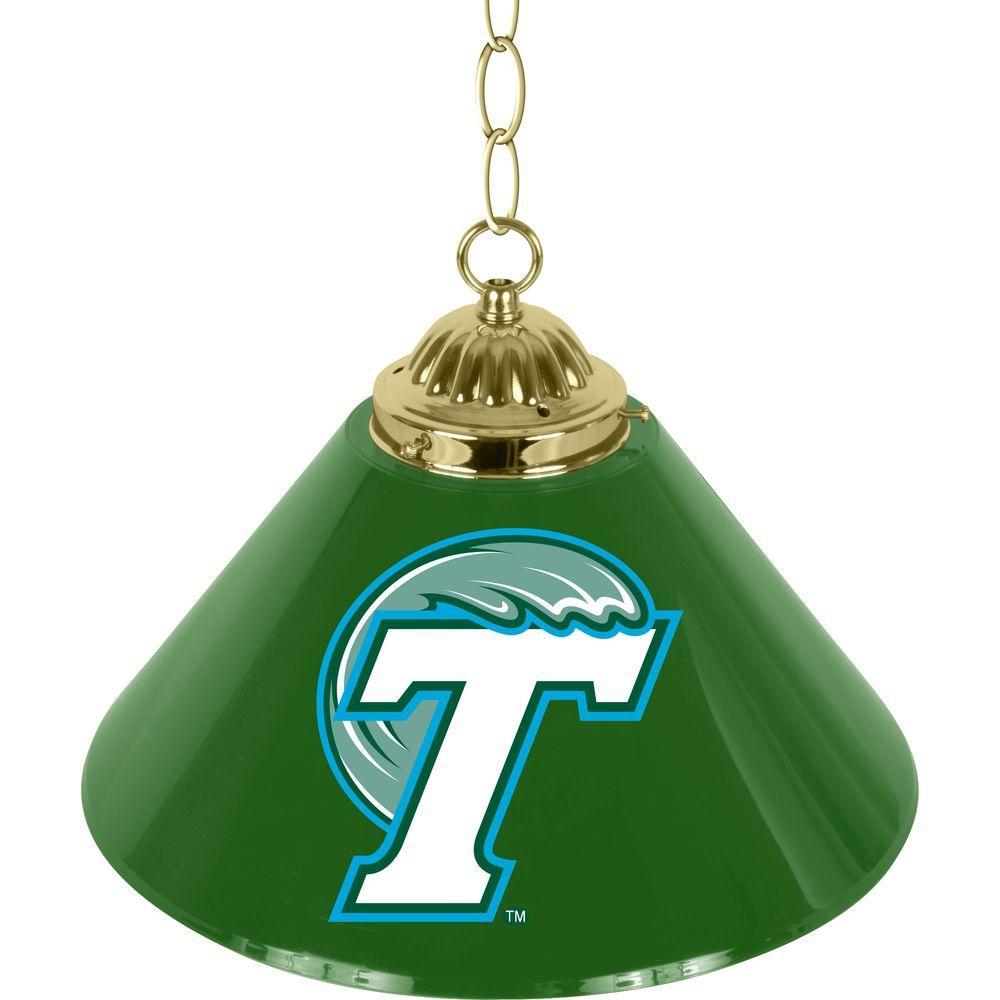 Tulane University 14 in. Single Shade Stainless Steel Hanging Lamp