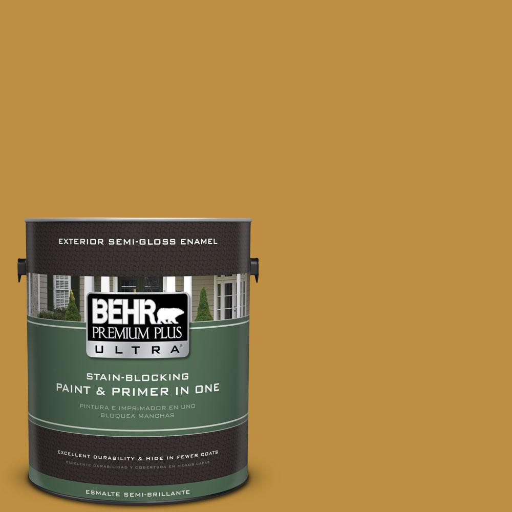 BEHR Premium Plus Ultra 1-gal. #340D-6 Fervent Brass Semi-Gloss Enamel Exterior Paint