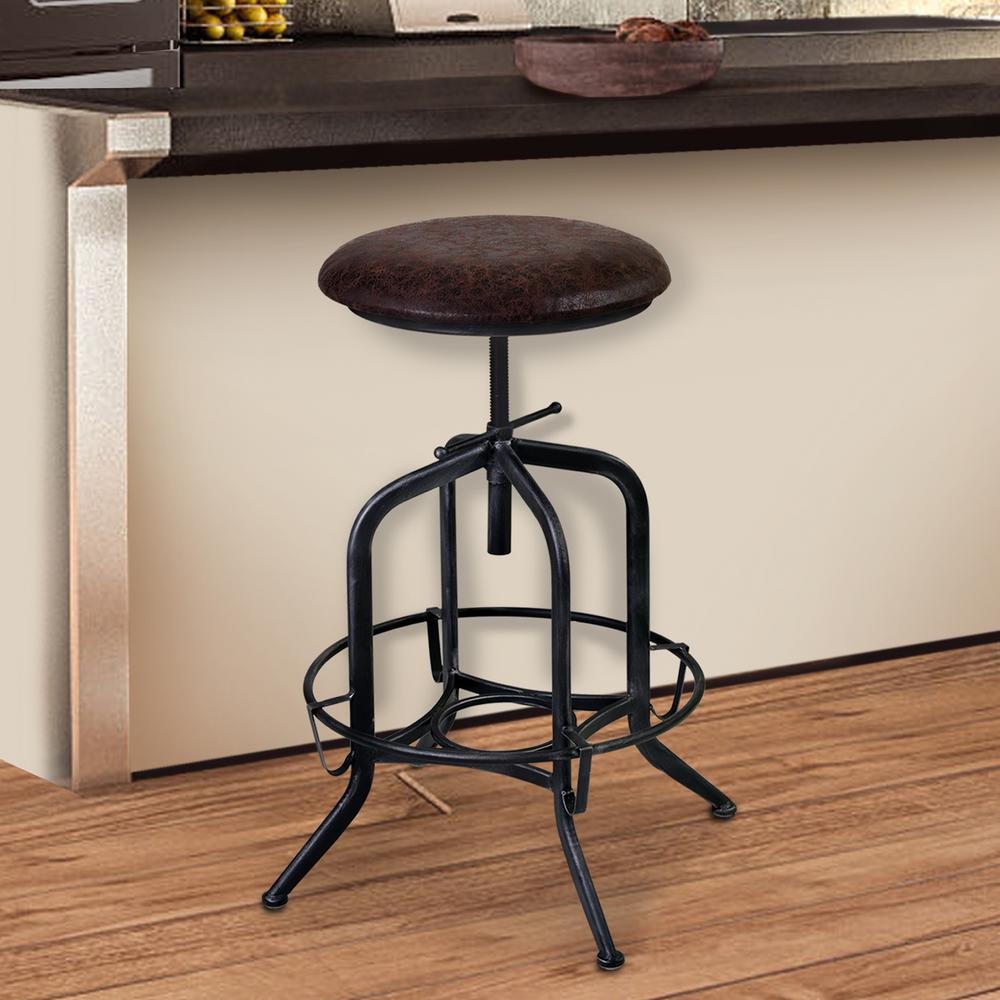 Armen Living Elena 24 32 In. Brown Fabric And Industrial Gray Finish  Adjustable Barstool