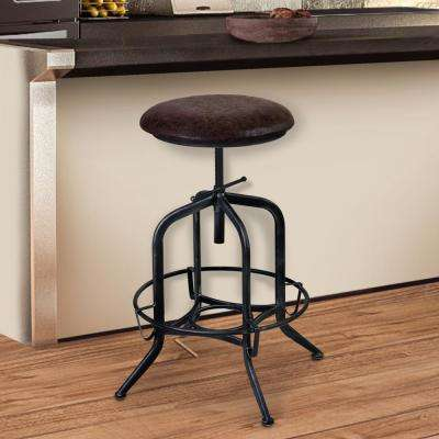 Elena 24-32 in. Brown Fabric and Industrial Gray Finish Adjustable Barstool