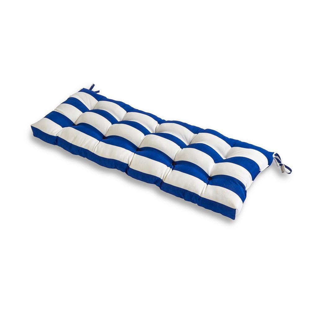 Cabana Stripe Blue Rectangle Outdoor Bench Cushion
