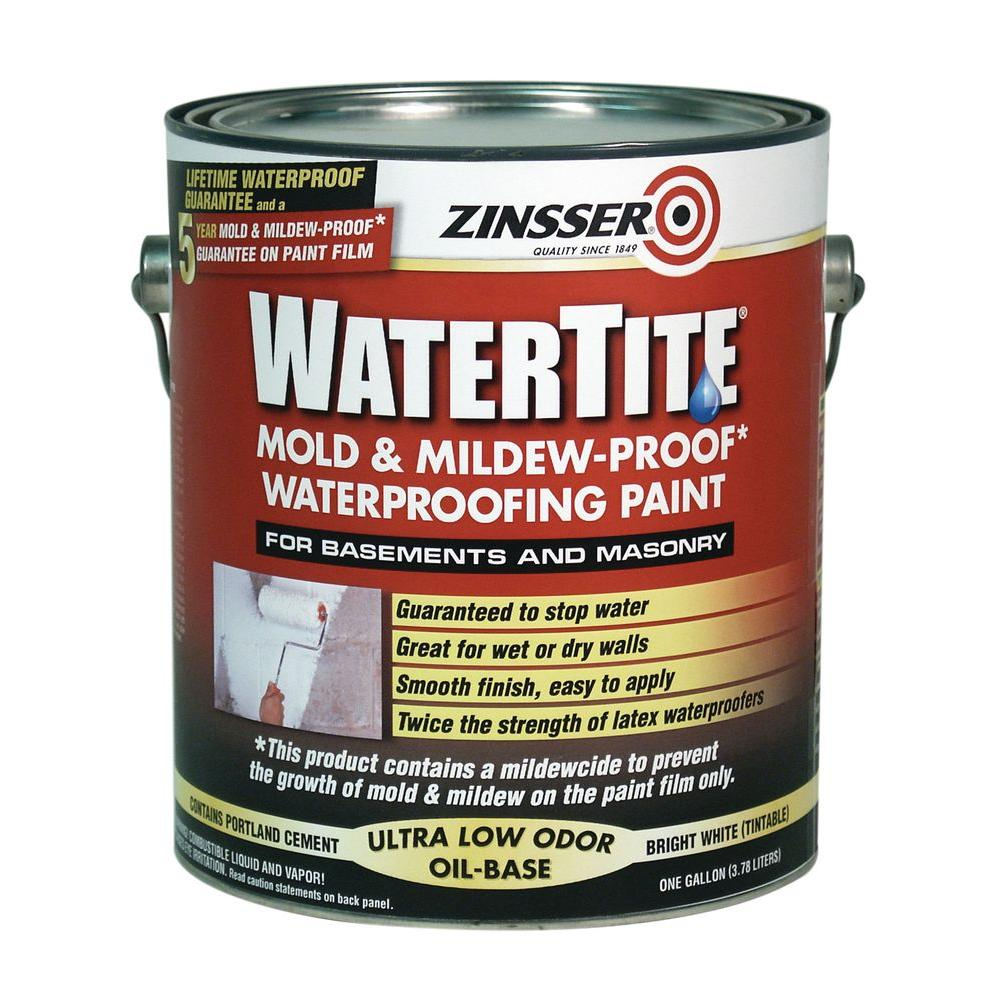 Zinsser 1 Gal. WaterTite Mold and Mildew-Proof White Oil Based Waterproofing Interior/Exterior Paint (2-Pack)