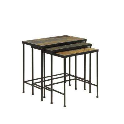 Wales Stone 18-20 in. Black 3 Piece Slate Top Nesting Tables