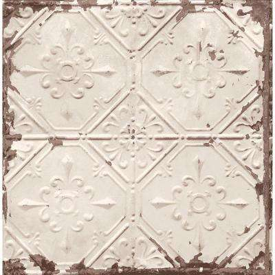 Beige Tin Ceiling Distressed Tiles Wallpaper