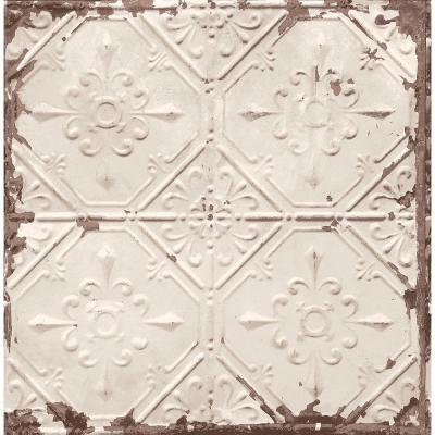 Beige Tin Ceiling Distressed Tiles Wallpaper Sample