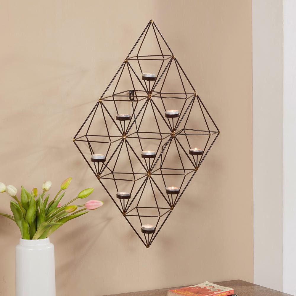 Geometric Black and Gold Metal Wall Tea Light Holder