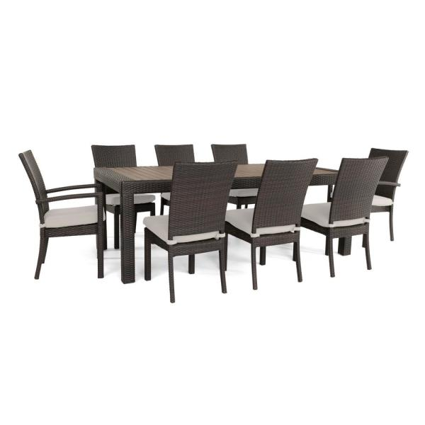 Deco 9-Piece Patio Dining Set with Moroccan Cream Cushions