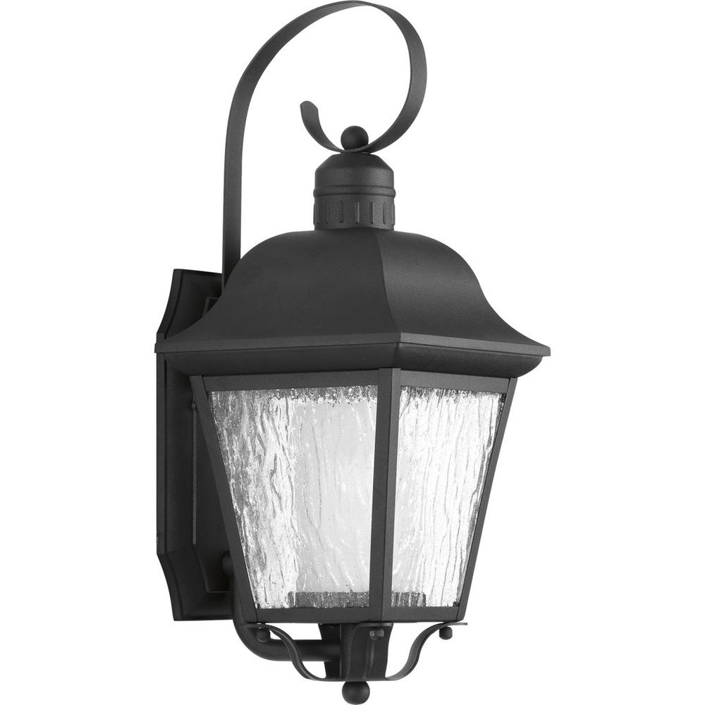 Progress Lighting Andover Collection 1-Light 18.4 in. Outdoor Black Wall Lantern Sconce