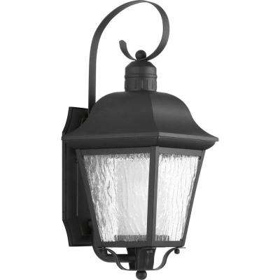 Andover Collection 1-Light 18.4 in. Outdoor Black Wall Lantern Sconce