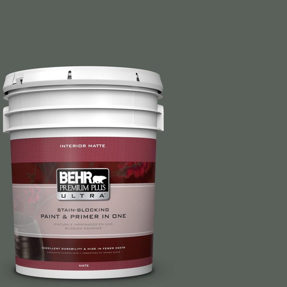 BEHR Premium Plus Ultra 5 gal. #PPF-45 Woodland Moss Flat/Matte Interior Paint