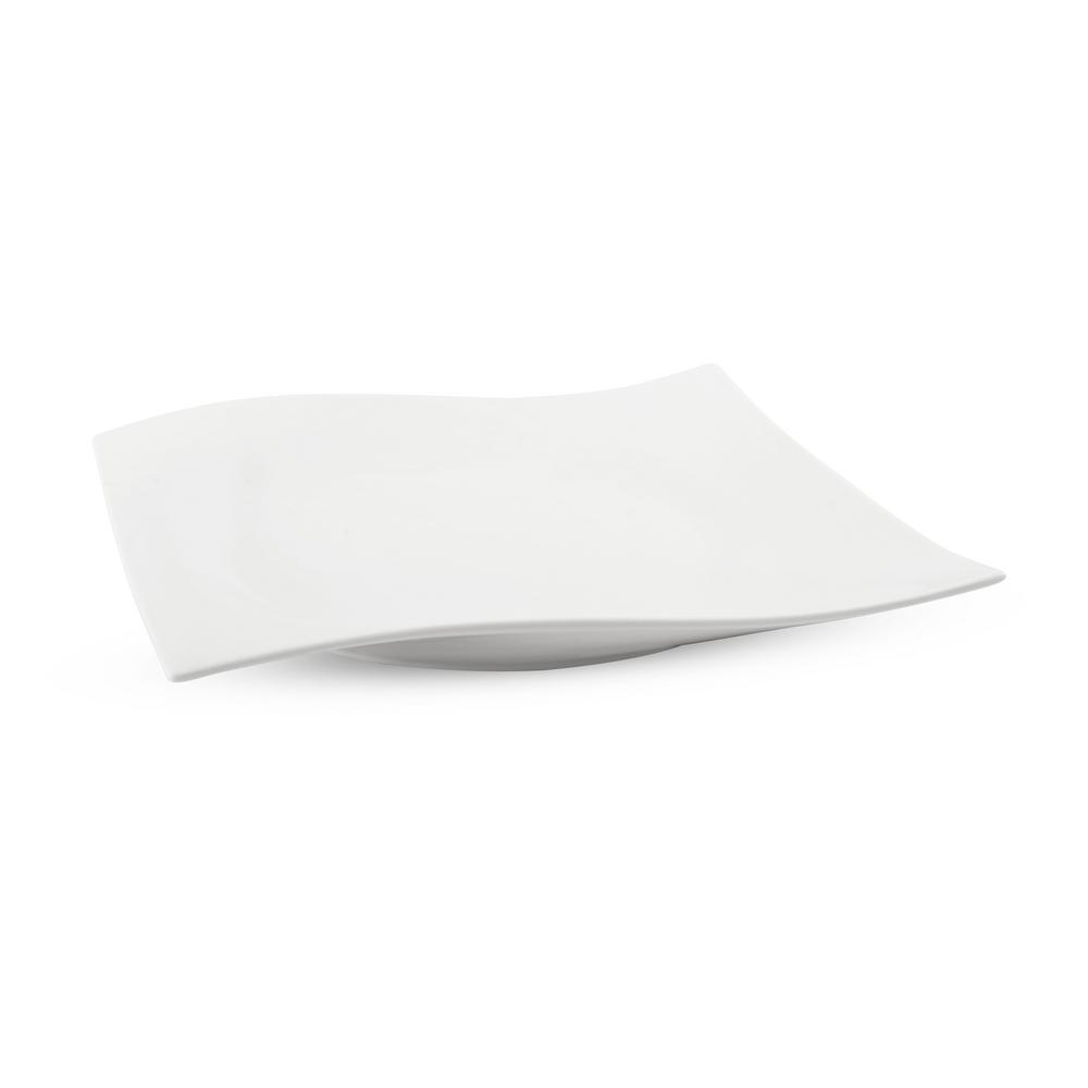 White Basics Porcelain Motion Square Platter