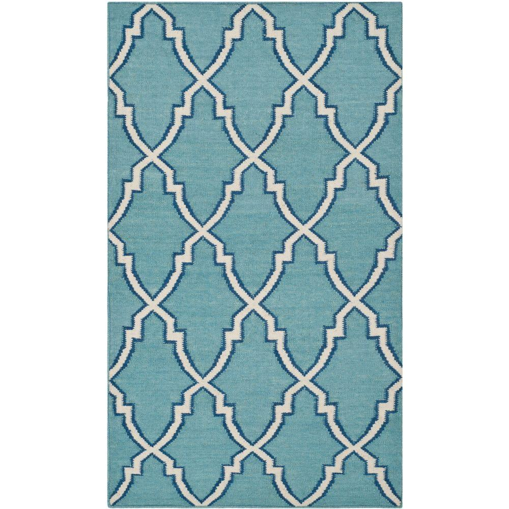 Dhurries Light Blue/Ivory 4 ft. x 6 ft. Area Rug