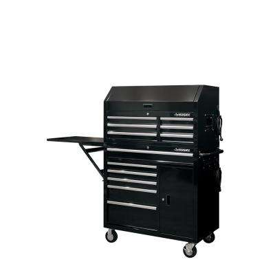 41 in. 12-Drawer Tool Chest and Cabinet Combo with Side Table in Black