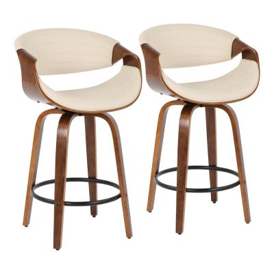 Symphony 26 in. Cream Faux Leather and Walnut Wood Counter Stool (Set of 2)