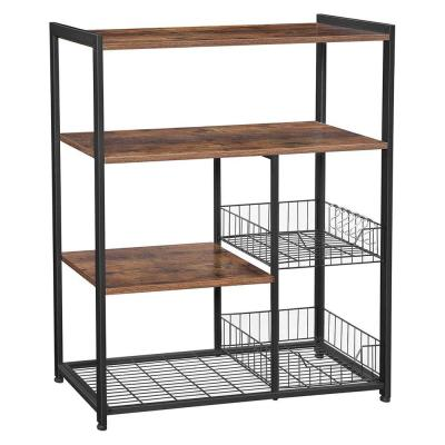 Brown and Black Wood and Metal Frame Baker's Rack with 2 Mesh Basket and 6 Hooks
