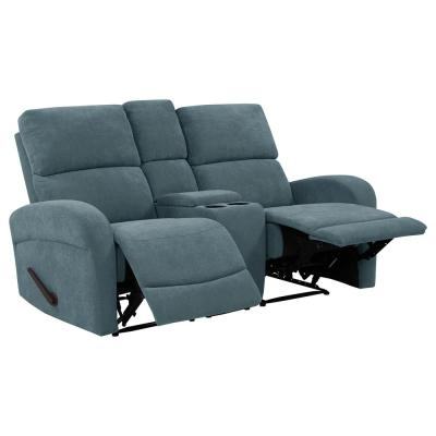 Caribbean Blue Chenille 2-Seat Recliner Loveseat with Power Storage Console