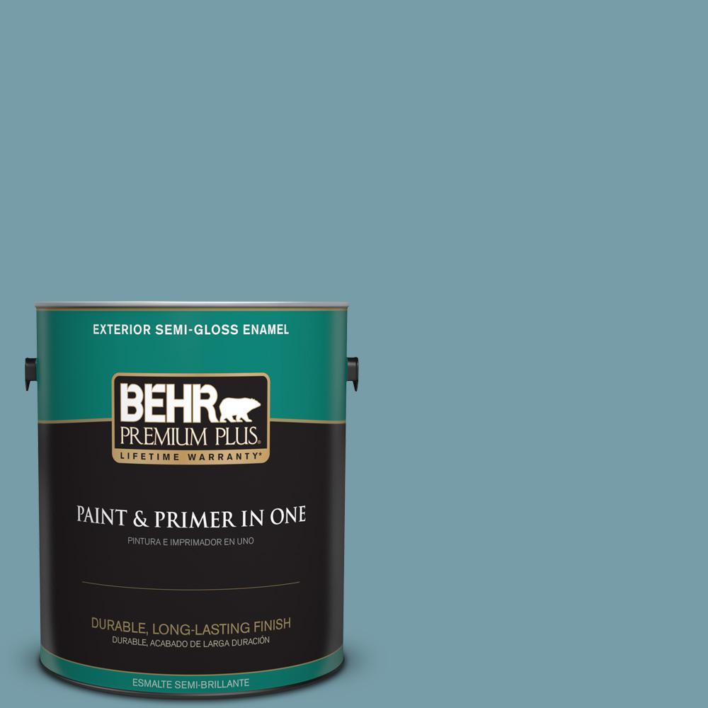 BEHR Premium Plus 1 gal. #PPU13-07 Voyage Semi-Gloss Enamel Exterior Paint, Blues