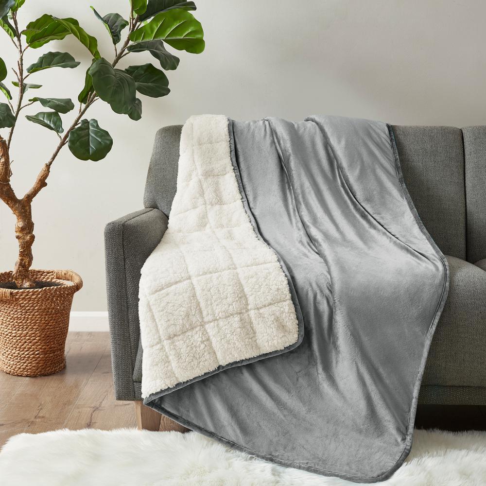 Velvet to Berber Grey 48 in. x 72 in. 12 lbs. Weighted Blanket