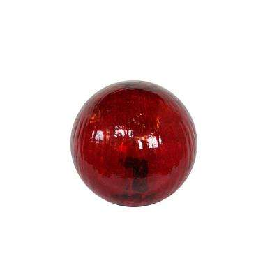 Small Red Crackled Glass Ball with LED Lights