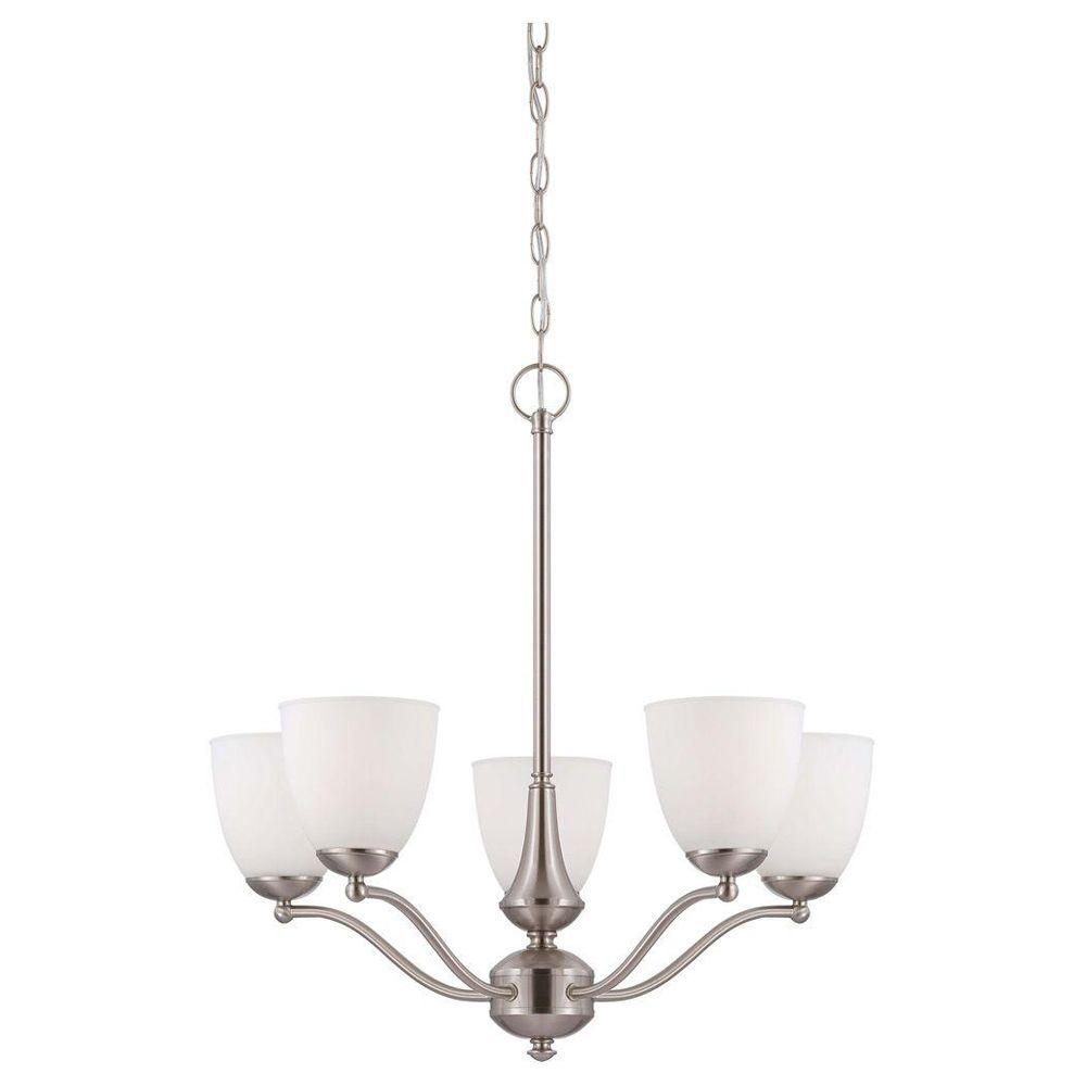 illumine 5 light brushed nickel chandelier with frosted glass shade hd 5035 the home depot. Black Bedroom Furniture Sets. Home Design Ideas