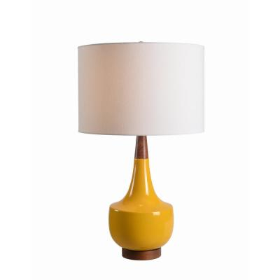 Tessa 26 in. Yellow Table Lamp with Wood Accents