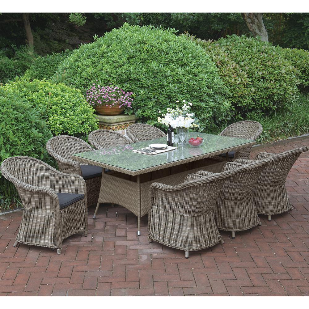 Nemoli 9-Piece Wicker Outdoor Patio Dining Set with Brown Seat Cushions