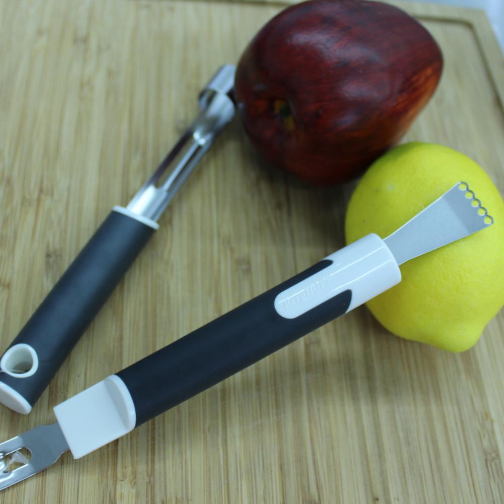 Neo Stainless Steel Lemon Zester Channel Knife and Apple Corer Peeler