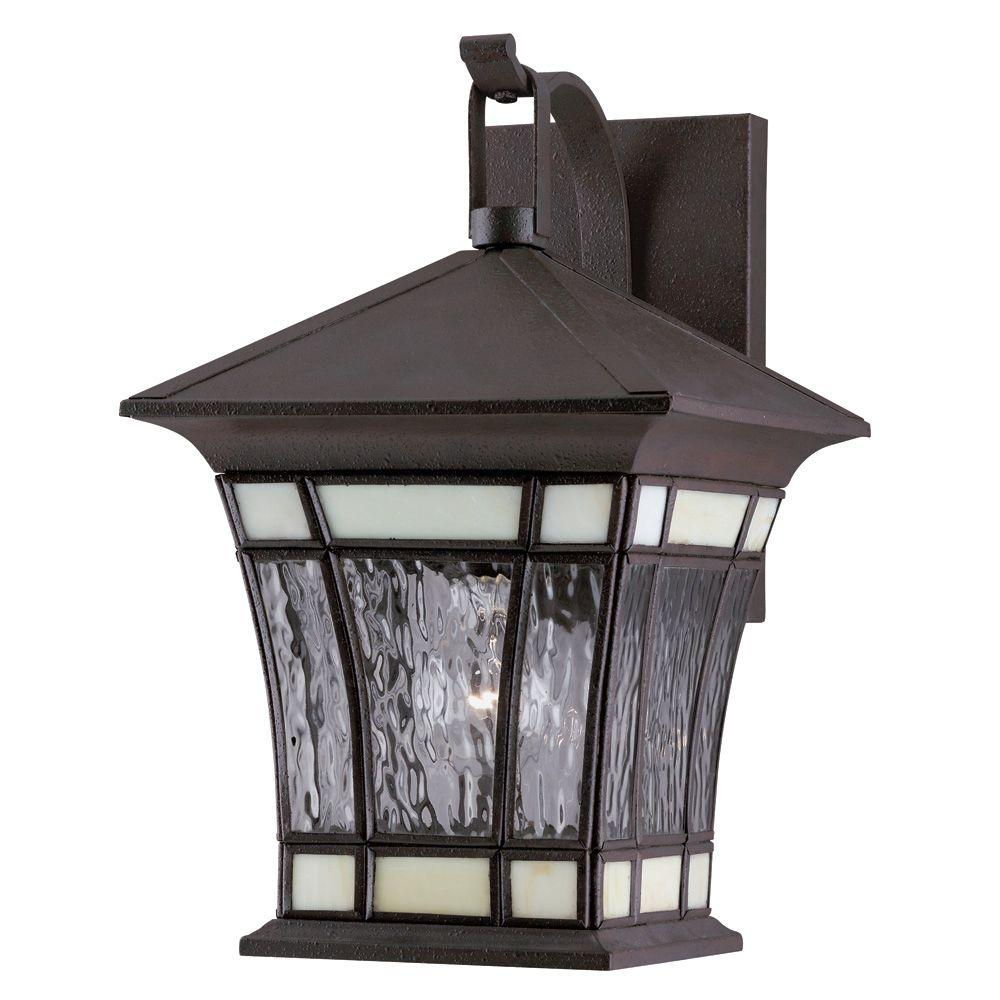 1-Light Textured Rust Patina Solid Brass Steel Exterior Wall Lantern with