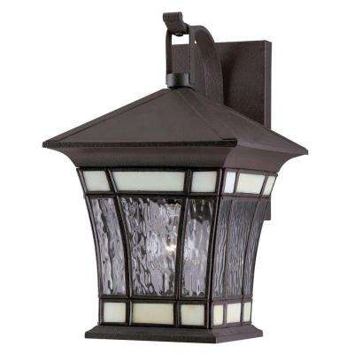 1-Light Textured Rust Patina Solid Brass Steel Exterior Wall Lantern with Water Glass and Tiffany Accents