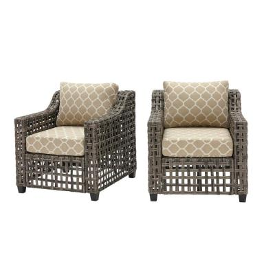 Briar Ridge Brown Wicker Outdoor Patio Deep Seating Lounge Chair with CushionGuard Toffee Trellis Tan Cushions (2-Pack)