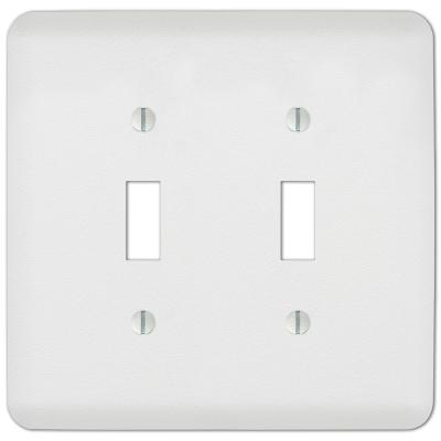 Perry 2 Gang Toggle Steel Wall Plate - White